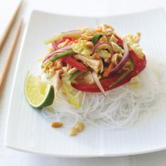 To give this salad more crunch, add         blanched soybeans (edamame) or fried         wonton strips.