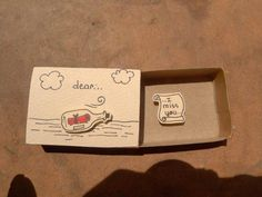 5 – Presents for boyfriend diy Diy Gifts For Friends, Diy Crafts For Gifts, Easy Diy Crafts, Matchbox Crafts, Matchbox Art, Presents For Boyfriend, Boyfriend Gifts, Cute Cards, Diy Cards