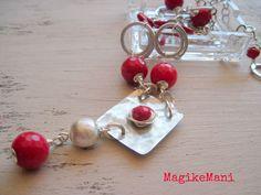 Collana rossociliegia, alpacca, alluminio, agata, argento indiano, cipolline di Bohemia