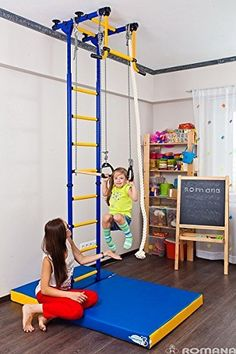 Amazon.com: Childrens Indoor Home Gym (Swedish Wall) - Playground Set for Kids with Gymnastic Rings, Climbing Rope, and Trapeze Bar. Suit for Gyms, Schools and Kids Room - Comet 2: Toys & Games
