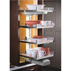 The Convoy Lavido Pantry Pull-Out by Hafele features soft-open soft-close shelves. Able to allow access from all three sides, the Convoy Lavido Pull-Out can hold from four to six shelves, which can easily be adjusted.