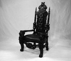 black goth chairs | BLACK GOTHIC LION THRONE CHAIR SEXY ...