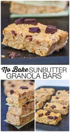No Bake Sunbutter Granola Bars- 1 bowl and 10 minutes is all you'll need for this #recipe- Perfect for those following a #vegan  #healthy snacking- Free from refined sugar and oil!