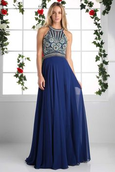 Navy Long Prom Dress with Chiffon Skirt.  Floor Length A-Line Prom and Evening Dress with Circular Pattern Beading Embellished Halter Bodice with Open Back featuring Beaded Straps and Invisible Zipper Closure, Flowing Long Chiffon Skirt is Softly Gathered featuring Train Detail. https://www.smcfashion.com/wholesale-prom-dresses/prom-gown-cdck19