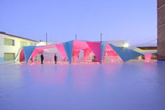 This Brightly Colored Thin Metal Canopy Protects a Playground in Spain #canopies trendhunter.com
