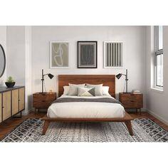 Bedroom Apartment, Home Bedroom, Cama Vintage, Modern Platform Bed, Solid Wood Platform Bed, Platform Beds, Mid Century Modern Bedroom, Luxurious Bedrooms, My New Room