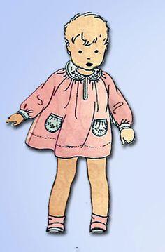 1920s Rare Vintage Butterick Sewing Pattern 6656 Baby Girls Dress Size 1 20B