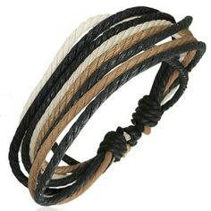 Three Colour Men's Surfer Style Cord Strand Bracelet Men's Jewellery #mensfashion #mensjewellery www.urban-male.com