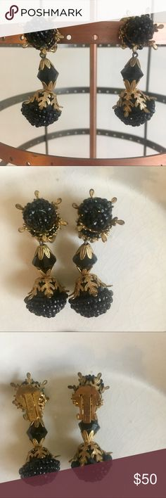 Miriam Haskell Black Bead Earrings Black bead and intricate gold filagree clip on earrings by Miriam Haskell. These are circa 1940s. Very unique and beautiful piece, direct match to the onyx bead choker necklace also for sale in my closet. Looks great as a set or as separate pieces. Excellent condition. Miriam Haskell Jewelry Earrings