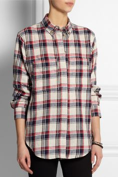 Étoile Isabel Marant Upton plaid linen-blend shirt