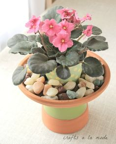 Make a Small Birdbath Out of Clay Pots to Hold a Pretty Potted Plant Clay Pot Crafts, Diy Home Crafts, Table Arrangements, Flower Arrangements, Clay Pots, Spring Crafts, Garden Styles, Diy Party, So Little Time