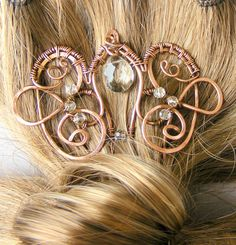 Victorian Look Copper Hair Fork with Crystals - Copper Hair Comb - Hair Stick - Hair Jewelry - Elegant Statement Hair Fork - Wire Wrapped