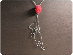 Flying Cat Necklace Copper Wire Cat Crystal Beads by Boogiecat, $16.00