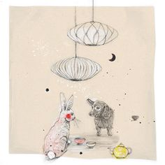 a little tea party beneath the bubble lamps.  by asia.