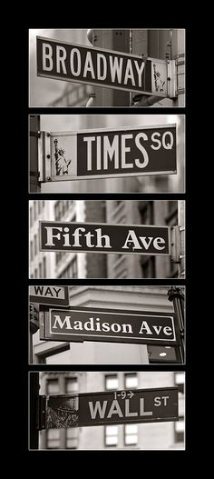 NYC Bucket List: New York Street Signs Must go to: Financial District Little Italy Chinatown Central Park Times Square statue of liberty tip. Rue New York, Ville New York, A New York Minute, Voyage New York, Empire State Of Mind, I Love Nyc, City That Never Sleeps, Dream City, Jolie Photo
