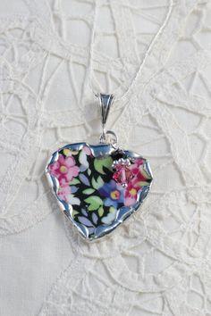 Broken China Jewelry China Heart Pendant by Robinsnestcreation1, $44.95