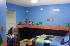 Quarto enfeitado de Mario Bros. Cotchô.
