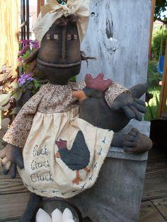 Primitive Grungy Black Folk Art Doll With Chicken...