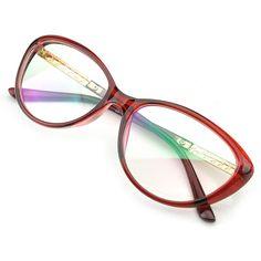 7d410904402 PenSee Womens Oval Cat Eye Retro Eyeglasses Frame Clear Lens Glasses