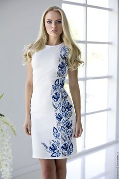 "Summer dress ""Bindweed"" milky white cotton with handmade embroidered gzhel style stranded leaves Embroidery On Clothes, Embroidered Clothes, Embroidery Fashion, Embroidery Dress, Fabric Painting On Clothes, Dress Painting, Painted Clothes, Casual Dresses, Fashion Dresses"