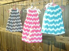 Chevron Pillow Case Dress  You choose color Girlie Girl O so cute   Sizes 0-3 months -6t bigger sizes available. $20.00, via Etsy.