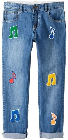 Stella McCartney Lohan Patched Denim Pants (Toddler/Little Kids/Big Kids)