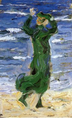Franz Marc ~ Woman in the Wind by the Sea, 1907