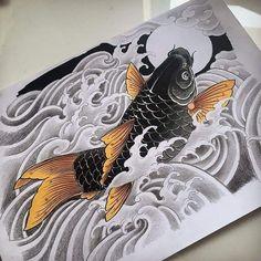 Koi Dragon Tattoo, Dragon Fish, Koi Tattoo Sleeve, Full Sleeve Tattoo Design, Koi Fish Drawing, Fish Drawings, Japanese Tattoo Art, Japanese Sleeve Tattoos, Fish Sketch