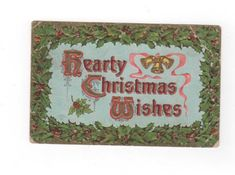 Hearty Christmas Wishes. antique postcard embossed with gold accents. Collectible ephemera card scrapbook embellishments collage. by PickleladyPapers on Etsy