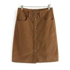 Brown Buttons Pockets Corduroy Skirt (52 BRL) ❤ liked on Polyvore featuring skirts, pocket skirt, brown corduroy skirt, corduroy skirt and brown skirt