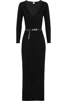 Belted cashmere full length sweater dress.