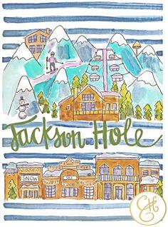 Jackson Hole Map Print by Evelyn Henson