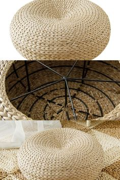 Hand-woven round straw Tatami style floor pouf.  Eco-friendly straw weave floor pillow ideal to use as a pouf, foot rest, ideal for surrounding a coffee table in the living room. The hand-woven simple and classic design will suit any home décor and can be used in any room of the house. The slight concave design of the cushion is handcrafted and free of artificial chemicals and paint, it makes for an ideal sitting cushion for practicing meditation. Floor Pouf, Floor Pillows, Sitting Cushion, Concave, Foot Rest, Straw Bag, Scandinavian, Weave, Eco Friendly