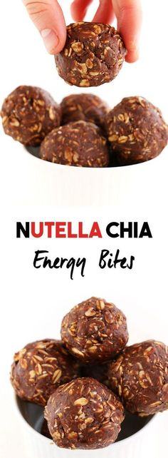 Nutella Chia Energy Bites (10) 4 ingredients - My all time favourite energy snack. These bliss balls only take 5min to make and are packed with protein and gluten-free.