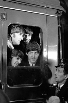 The Beatles during filming of A Hard Day's Night, 1964