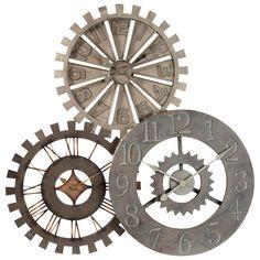 Horloge triple en métal D 92 cm ROUAGES
