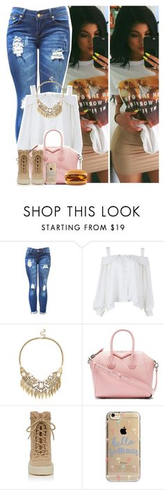 """""""7.1.3 - Kylie Jenner"""" by zarina-fashion ❤ liked on Polyvore featuring Beauty Secrets, Sole Society, Givenchy, adidas Originals, Agent 18, casual, rippedjeans, KylieJenner and Yeezy"""