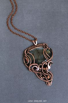 Labradorite pendant Wire wrap necklace Wire by LenaSinelnikArt