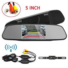 Ehotchpotch 5'' TFT LCD Car Rear View Mirror Build-in Wireless Vehicle Backup Camera Parking Reverse System Monitor, Whaterproof, IR LED Night Vision, Long license plate