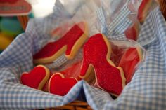 Wizard of Oz Party Ruby Red Slipper Cookies. I've got to try and talk Bella into a Wizard of Oz party! Baby Birthday, Birthday Parties, Birthday Ideas, Kid Parties, Themed Parties, Birthday Gifts, Shoe Cookies, Heart Cookies, Ruby Red Slippers
