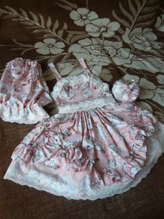 Sweet Doll-Printed Set of matching skirt, top and bloomers + free purse as a bonus!