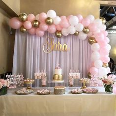Baby Pink White and Gold Silver Balloon Garland, Balloon Garland Kit, Bridal Shower, Anniversar Baby Shower Table Set Up, Baby Girl Shower Themes, Girl Baby Shower Decorations, Baby Shower Princess, Baby Shower For Girls, Shower Baby, Pink Princess Party, Baby Shower Balloons, Princess Dresses