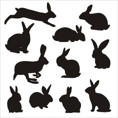 Bunny Silhouettes Stock Vector Illustration And Royalty Free Bunny Silhouettes Clipart Rabbit Silhouette, Silhouette Clip Art, Free Rabbits, Rabbit Vector, Diy Ostern, Rabbit Art, Applique Patterns, Cute Bunny, Free Illustrations