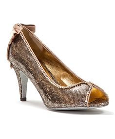 342a62745d2 Gold Glittery Peep-Toe Pumps - with delicate crystal trim and satiny bow at  the