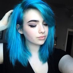 new hair slightly lighter shade of blue bc I like to mix things up ❤ liked on Polyvore featuring xoe arabella