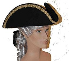 Men s Historical Black Wool Tricorn Pirate Captain Hat with Gold Lace Trim  Custom Made to Your b461ecd57f5d