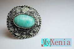 Объёмное серебряное кольцо в этническом стиле. Вставка амазонит.