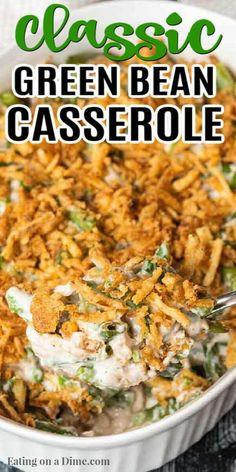 Greenbean Casserole Recipe, Easy Casserole Recipes, Onion Casserole, Broccoli Casserole, Rice Casserole, Thanksgiving Casserole, Best Thanksgiving Recipes, Green Beans For Thanksgiving, Salads