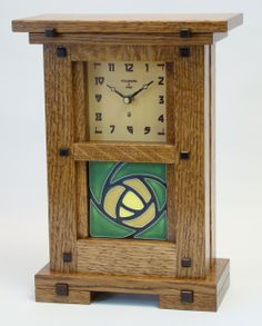 Greene & Greene Tile Clock w/4 x 4 Tile :: Greene & Greene Inspired :: Handcrafted Finished Items :: Schlabaugh & Sons