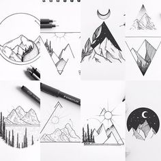 Geometric mountain scenes
